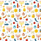 Rosh Hashanah, Shana Tova seamless pattern vector illustration. Royalty Free Stock Photo