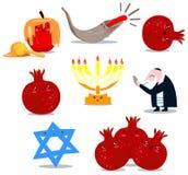 Rosh Hashanah Symbol-Satz Stockfoto