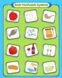 Rosh Hashanah Symbols. Rosh Hashanah cute and colorful holiday symbols. Eps10 Stock Image