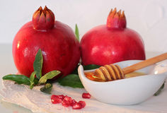 Rosh hashanah symbols - honey and pomegranate Stock Image