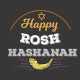 Rosh HaShanah text lettering. Happy Jewish New Year greeting card design with logo vector illustration cartoon isolated. On black background vector illustration
