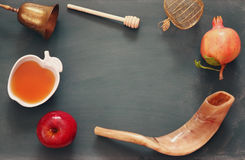 Rosh hashanah (jewish New Year) concept. Traditional symbols Royalty Free Stock Photos