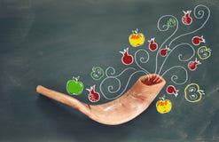 Rosh hashanah (żydowski nowego roku wakacje) symbole tradycyjni Zdjęcia Stock