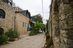 Rosh Pinna town streets. Old houses in nothern Israel town Royalty Free Stock Photos
