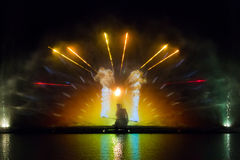 Roshen fountain  - image of fire play Royalty Free Stock Images