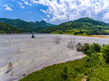Rosia Montana Geamana Lake environmental disaster nature polluti Stock Photos