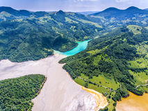 Rosia Montana Geamana Lake nature pollution with cyanide Stock Photos