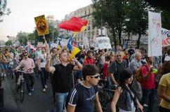 Rosia Montana Protest in Boekarest, Roemenië - 07 September Stock Fotografie