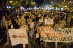 Rosia Montana Protest in Bucharest,Romania - 08 September. Thousands of people gathered in Bucharest for a 8th day of protests against plans for Europe's biggest Stock Photos