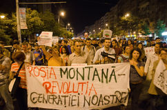 Rosia Montana Protest in Bucharest,Romania - 08 September(2). Thousands of people gathered in Bucharest for a 8th day of protests against plans for Europe's Royalty Free Stock Images