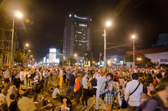 Rosia Montana Protest in Bucharest,Romania - 08 September(3). Thousands of people gathered in Bucharest for a 8th day of protests against plans for Europe's Stock Image