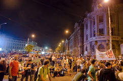 Rosia Montana Protest in Bucharest,Romania - 08 September(9). Thousands of people gathered in Bucharest for a 8th day of protests against plans for Europe's Royalty Free Stock Photos