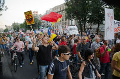 Rosia Montana Protest in Bucharest,Romania - 07 September. Thousands of Romanians vehemently oppose the passing of the draft legislation on the open-pit cyanide Stock Photography