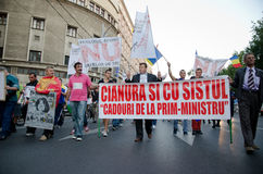 Rosia Montana Protest in Bucharest,Romania - 07 September. Thousands of Romanians vehemently oppose the passing of the draft legislation on the open-pit cyanide Royalty Free Stock Photo
