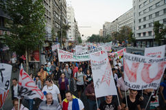 Rosia Montana Protest in Bucharest,Romania - 07 September. Thousands of Romanians vehemently oppose the passing of the draft legislation on the open-pit cyanide Royalty Free Stock Photography