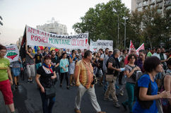 Rosia Montana Protest in Bucharest,Romania - 07 September. Thousands of Romanians vehemently oppose the passing of the draft legislation on the open-pit cyanide Royalty Free Stock Image
