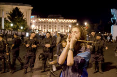 Rosia Montana Protest in Bucharest,Romania(8). Thousands of Romanians vehemently oppose the passing of the draft legislation on the open-pit cyanide-based mining Royalty Free Stock Images