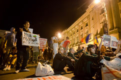 Rosia Montana Protest in Bucharest,Romania(10). Thousands of Romanians vehemently oppose the passing of the draft legislation on the open-pit cyanide-based Stock Images