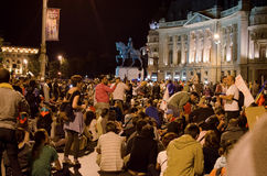 Rosia Montana Protest in Bucharest,Romania(11). Thousands of Romanians vehemently oppose the passing of the draft legislation on the open-pit cyanide-based Royalty Free Stock Images