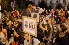 Rosia Montana Protest in Bucharest,Romania(14). Thousands of Romanians vehemently oppose the passing of the draft legislation on the open-pit cyanide-based Royalty Free Stock Photo