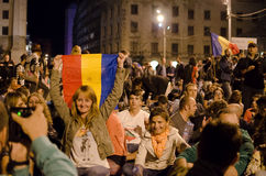Rosia Montana Protest in Bucharest,Romania(15). Thousands of Romanians vehemently oppose the passing of the draft legislation on the open-pit cyanide-based Royalty Free Stock Photography