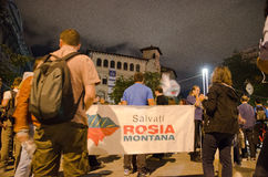Rosia Montana Protest in Bucharest,Romania(17). Thousands of Romanians vehemently oppose the passing of the draft legislation on the open-pit cyanide-based Stock Image