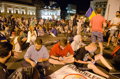Rosia Montana Protest in Bucharest,Romania(20). Thousands of Romanians vehemently oppose the passing of the draft legislation on the open-pit cyanide-based Stock Image