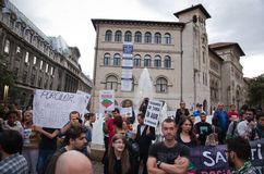 Rosia Montana Protest in Bucharest,Romania(22). Thousands of Romanians vehemently oppose the passing of the draft legislation on the open-pit cyanide-based Royalty Free Stock Photo