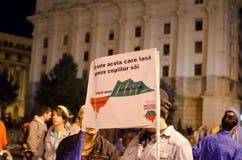 Rosia Montana Protest i Bucharest, Rumänien (5) Royaltyfria Foton