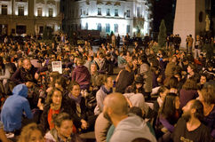Rosia Montana Protest i Bucharest, Rumänien (4) Arkivfoto