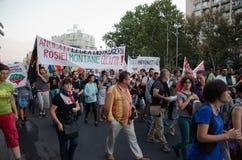 Rosia Montana protest w Bucharest, Rumunia - 07 Wrzesień Obraz Royalty Free