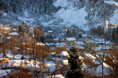 Rosia Montana village at wintertime. Romania Stock Photography
