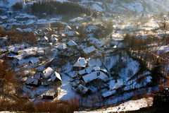 Rosia Montana village at wintertime. Romania Royalty Free Stock Image