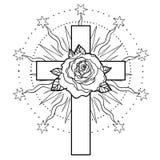 Rosicrucianism symbol. Blackwork tattoo flash. All seeing eye, C Stock Photography