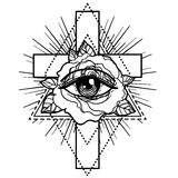 Rosicrucianism symbol. Blackwork tattoo flash. All seeing eye, C Royalty Free Stock Images