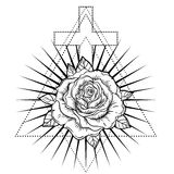 Rosicrucianism symbol. Blackwork tattoo flash. All seeing eye, C Stock Photos