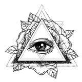 Rosicrucianism symbol. Blackwork tattoo flash. All seeing eye, C Stock Image