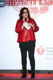 Rosie O'Donnell habla en etapa en la pista en el rojo del ir para la colección roja 2015 del vestido de las mujeres Imagen de archivo libre de regalías
