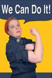 Rosie the riveter. Photo re make of Rosie the riveter fron world war 2, with clipping path Royalty Free Stock Images