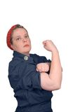 Rosie the riveter. Photo re make of Rosie the riveter fron world war 2, with clipping path Stock Image