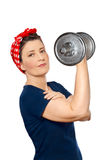 Rosie riveter lifting dumbbell isolated Stock Photography