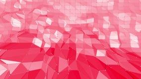 Rosig eller rosa låg poly svängande yttersida som fantastisk lättnad Röd polygonal geometrisk vibrerande miljö eller royaltyfri illustrationer