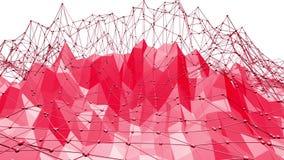 Rosig eller rosa låg poly svängande yttersida som geometriskt raster Miljö eller pulserar för Polygonal mosaik röd vibrerande vektor illustrationer