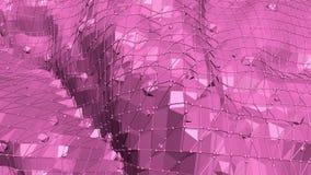 Rosig eller rosa låg poly svängande yttersida som landskap Röd polygonal geometrisk vibrerande miljö eller pulserar royaltyfri illustrationer