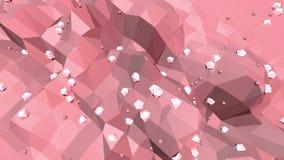 Rosige oder rosa niedrige wellenartig bewegende Polyoberfläche als moderner Hintergrund der Karikatur Rote polygonale geometrisch stock abbildung
