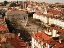 Rosio square in Portugal, Lisbon Stock Photos