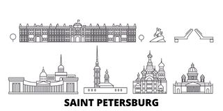 Rosja, Świątobliwy linii podróży linia horyzontu set Petersburg Rosja, Świątobliwy Petersburg konturu miasto wektorowa ilustracja ilustracji