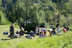 Rosja Altai republika Akkem rzeka, 07/07/2018 artykułów wstępnych obrazy stock