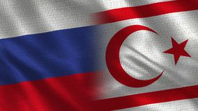 Rosja Cypr i północ tkaniny tekstura - Dwa flaga Wpólnie - obrazy royalty free