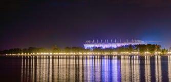 Rosja, Don, Maj 11, 2018: Stadionu futbolowego Rostov arena Stadium dla 2018 FIFA pucharu świata Nocy iluminacja Obraz Stock